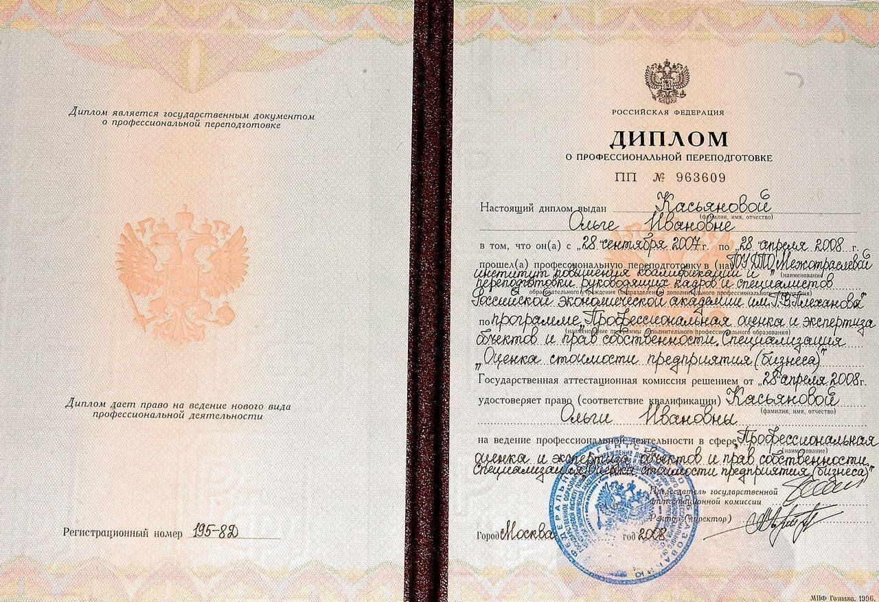 Специалисты Бюро Оценки Касьянова  1169 1196 Свидетельство Касьяновой
